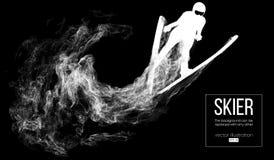 Silueta de un esquiador en fondo oscuro, negro
