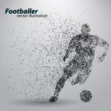 Silueta de un futbolista de partículas stock de ilustración