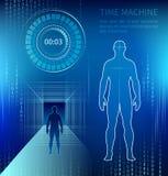 Silueta de un hombre al lado de una máquina de tiempo ilustración del vector