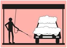 Silueta de un hombre en un fondo rosado, que lava el vehículo usando una lavadora de la presión stock de ilustración