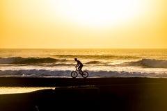 Silueta de un mountainbiker masculino en la puesta del sol en el mar con la onda para las personas que practica surf en el fondo  fotografía de archivo libre de regalías