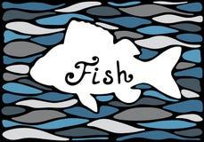 Silueta de un pescado en un fondo del mar Fotos de archivo