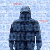 Silueta de un pirata informático isloated en blanco Foto de archivo libre de regalías