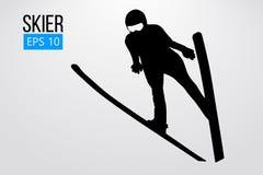 Silueta de un salto del esquiador aislada Ilustración del vector