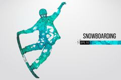 Silueta de un salto del snowboarder aislada Ilustración del vector