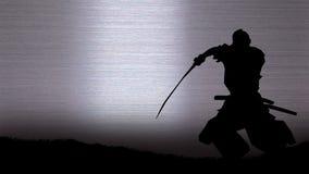 Silueta de un samurai Imagen de archivo libre de regalías