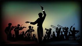 Silueta de un tesorero y de una orquesta en un fondo colorido libre illustration
