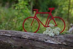 Silueta de una bicicleta roja hecha de la cartulina en un tronco de árbol contra un fondo del bosque verde fotos de archivo
