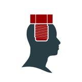 Silueta de una cabeza del ` s del hombre con el tornillo ilustración del vector