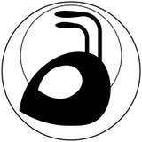 Silueta de una cabeza del ` s de la hormiga en círculos de diverso logotipo del minimalist de los diámetros stock de ilustración