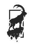 Silueta de una cabra de montaña Fotos de archivo libres de regalías