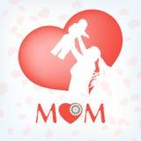 Silueta de una madre y de su niño. EPS 10 Fotografía de archivo