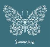 Silueta de una mariposa hecha de pequeñas mariposas, ejemplo gráfico Fotos de archivo libres de regalías