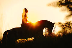 Silueta de una muchacha que monta un caballo en la puesta del sol Fotografía de archivo