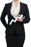Silueta de una mujer con una flecha blanca Foto de archivo libre de regalías
