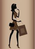 Silueta de una mujer, estilo de la vendimia Fotografía de archivo
