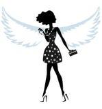 Silueta de una mujer joven con Angel Wings stock de ilustración
