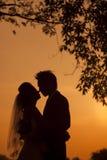 Silueta de una novia y de un novio jovenes Fotografía de archivo libre de regalías