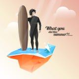 Silueta de una persona que practica surf que guarda al tablero para practicar surf Puesta del sol hermosa del verano ilustración del vector