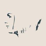 Silueta de una pista femenina Opinión del perfil de la cara Fotografía de archivo