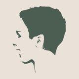 Silueta de una pista femenina Opinión del perfil de la cara Imagenes de archivo