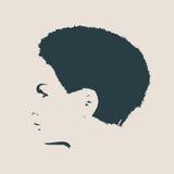Silueta de una pista femenina Opinión del perfil de la cara Imagen de archivo