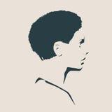 Silueta de una pista femenina Opinión del perfil de la cara Fotos de archivo