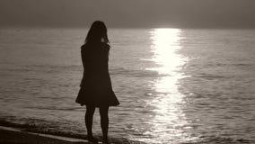 Silueta de una señora que camina por el mar almacen de video