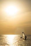 Silueta de una viento-persona que practica surf en puesta del sol de las ondas Fotos de archivo libres de regalías