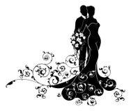 Silueta de Wedding Abstract Dress de novia y del novio Imagen de archivo libre de regalías