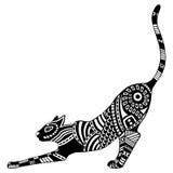 Silueta decorativa adornada modelada étnica del gato Ejemplo dibujado mano blanco y negro del garabato Imagen de archivo libre de regalías