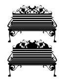 Silueta decorativa del vector del negro del banco Foto de archivo libre de regalías