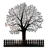 Silueta del árbol con las hojas y la cerca del jardín Fotografía de archivo