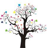 Silueta del árbol con los corazones coloreados Foto de archivo libre de regalías