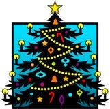 Silueta del árbol de navidad Foto de archivo libre de regalías