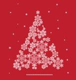 Silueta del árbol de navidad formada por los copos de nieve Imagen de archivo