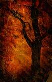 Silueta del árbol en el papel viejo stock de ilustración
