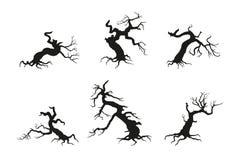 Silueta del árbol roto viejo en un fondo blanco D negra stock de ilustración