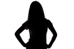 Silueta del adolescente con el fondo blanco Imagen de archivo