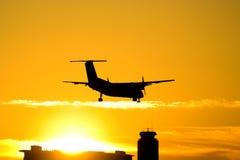 Silueta del aeroplano Fotografía de archivo libre de regalías