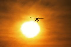 Silueta del aeroplano Foto de archivo