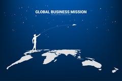 Silueta del aeroplano de la papiroflexia del tiro del hombre de negocios en mapa del mundo ilustración del vector