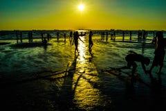 Silueta del amor del verano Imagenes de archivo