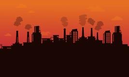 Silueta del backgroud de la industria de la contaminación Imagen de archivo libre de regalías