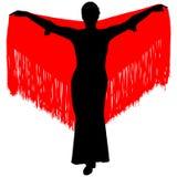 Silueta del bailarín del flamenco Foto de archivo libre de regalías