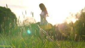 Silueta del baile contra mujer del sol almacen de video
