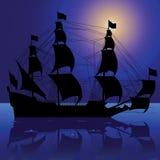 Silueta del barco de vela Imagen de archivo
