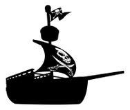 Silueta del barco pirata Fotos de archivo libres de regalías