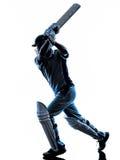 Silueta del bateador del jugador del grillo Fotos de archivo libres de regalías