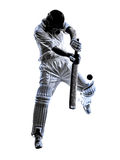 Silueta del bateador del jugador del grillo Imágenes de archivo libres de regalías